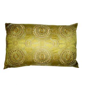 Green Rectangular Pillow w/ circle pattern