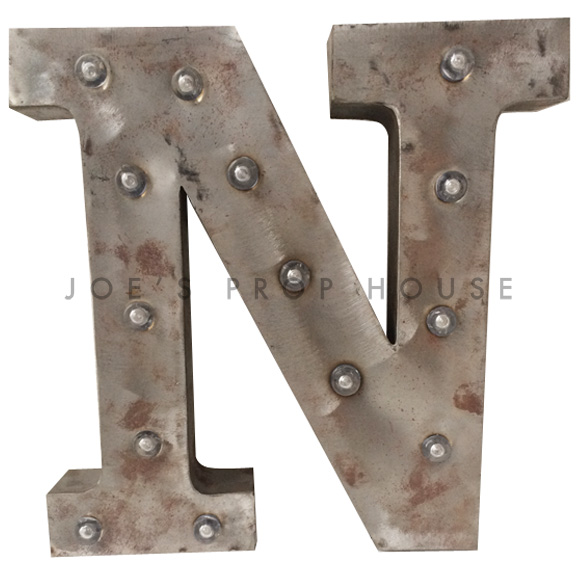 12in Galvanized Metal Marquee Letter N