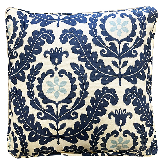 Capri Square Accent Pillow Blue & Ivory