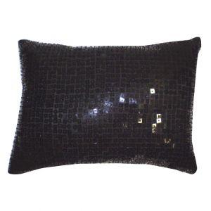 Rectangular Black Sequins Pillow
