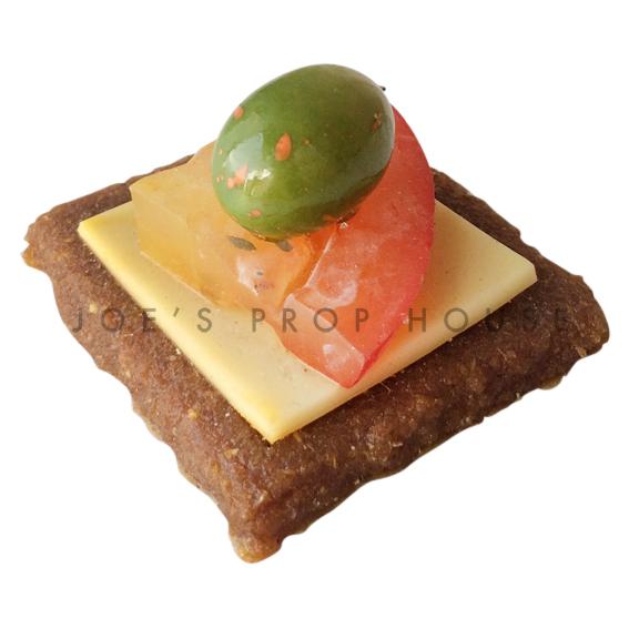 Green Olive Tomatoe Cheese Gravlax Cracker Food Prop