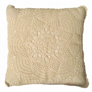 Vintage Crochet Square Accent Pillow Beige 15in x 15in