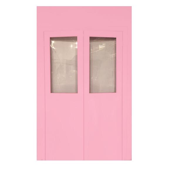 Pink Self-Standing Double Door Entrance Wall