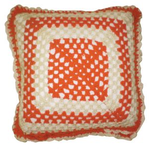 Orange & White Knit Pillow