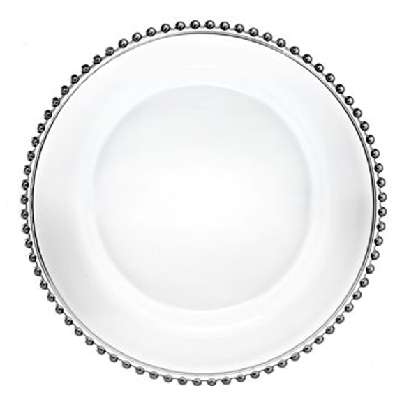 Silver Beaded Clear Glass Charger Plate D12.75in