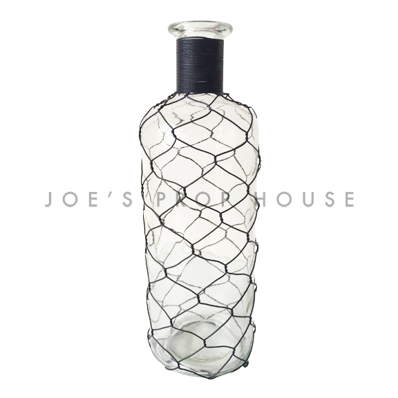 BUY ME / USED ITEM $12.99 each Black Chicken Wire Clear Bottle TALL H11in