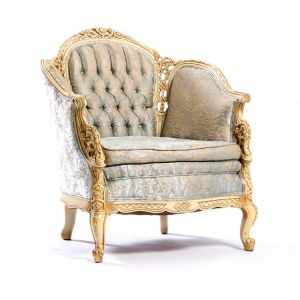 Victoria Tufted Armchair Light Blue