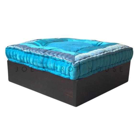 Teak Floor Cube w/TURQUOISE Cushion