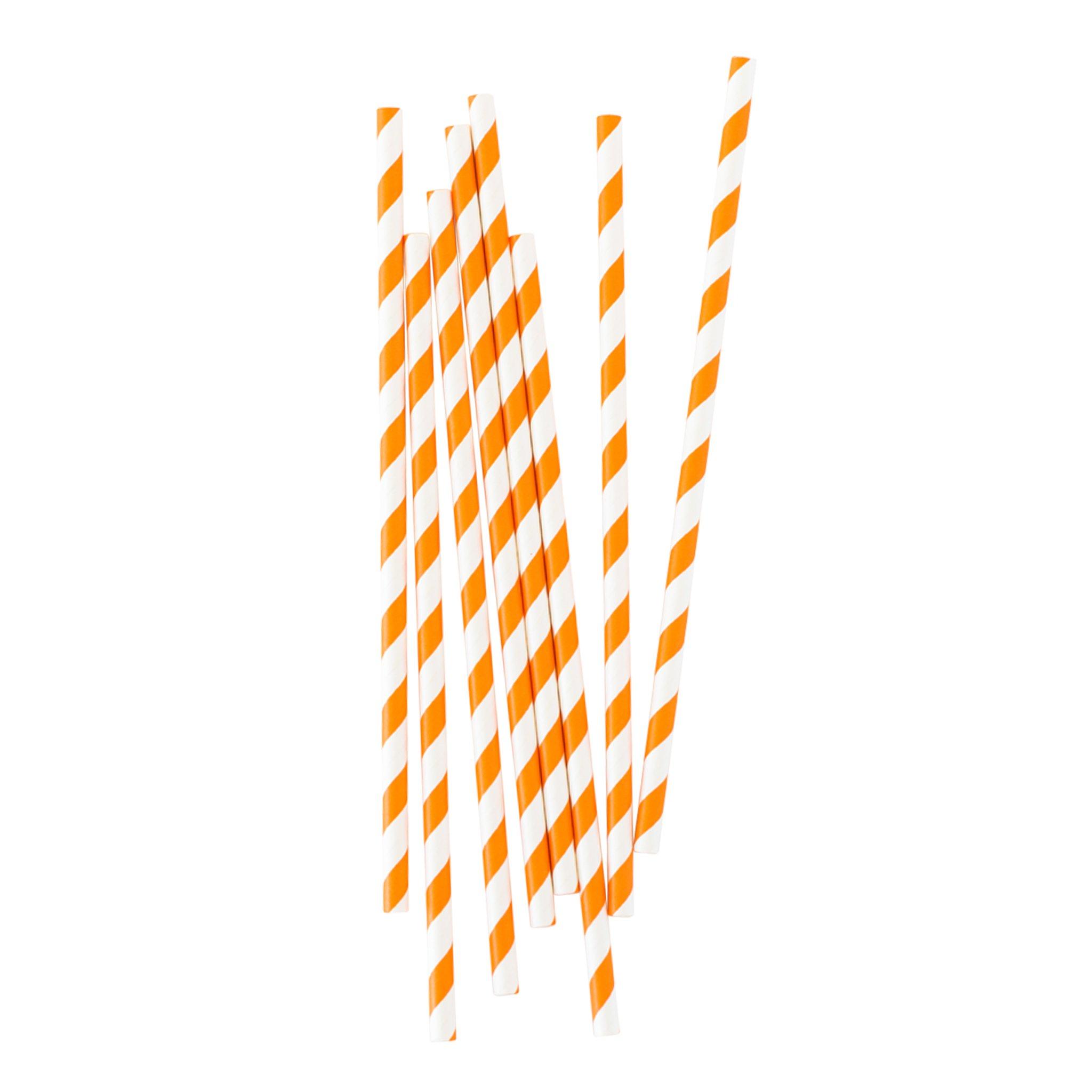 BUY ME / NEW ITEM $1.99 each Biodegradable Bright Orange Stripe Paper Straws - 25 Pack