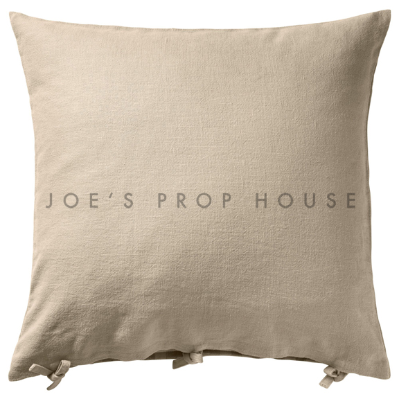 Beige Linen Accent Pillow with Ties